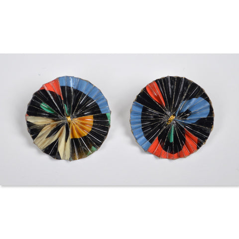 Red/Blue/Black Circular Fan Earrings