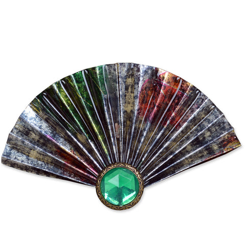 Silver/Green Fan Brooch