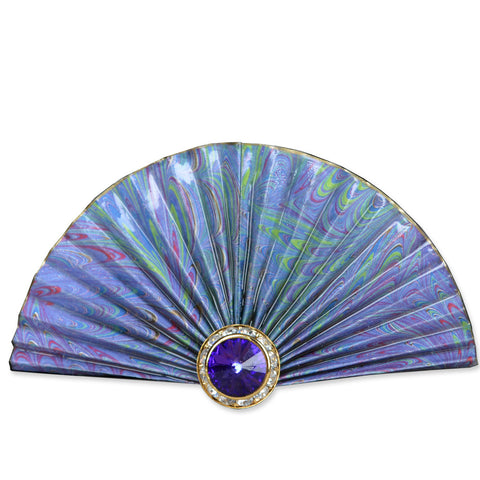 Lavender/Green Fan Brooch
