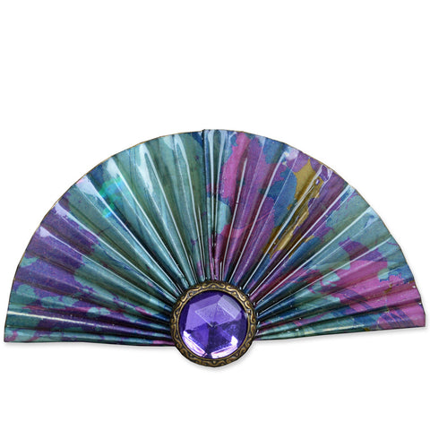 Purple/Green Fan Brooch