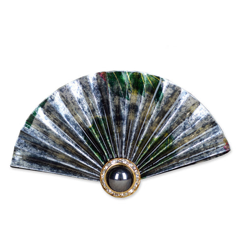 Silver/Green/Black Fan Brooch