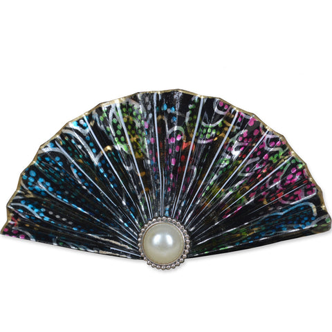 Metallic/Rainbow Fan Brooch