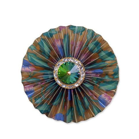 Gold/Pink/Green Circular Fan Brooch