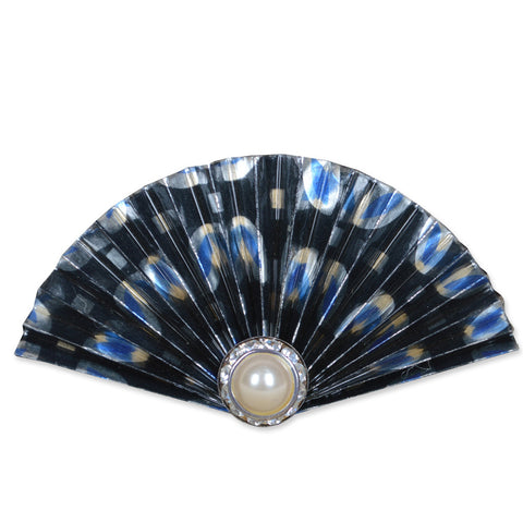 Black/Silver/Blue Fan Brooch
