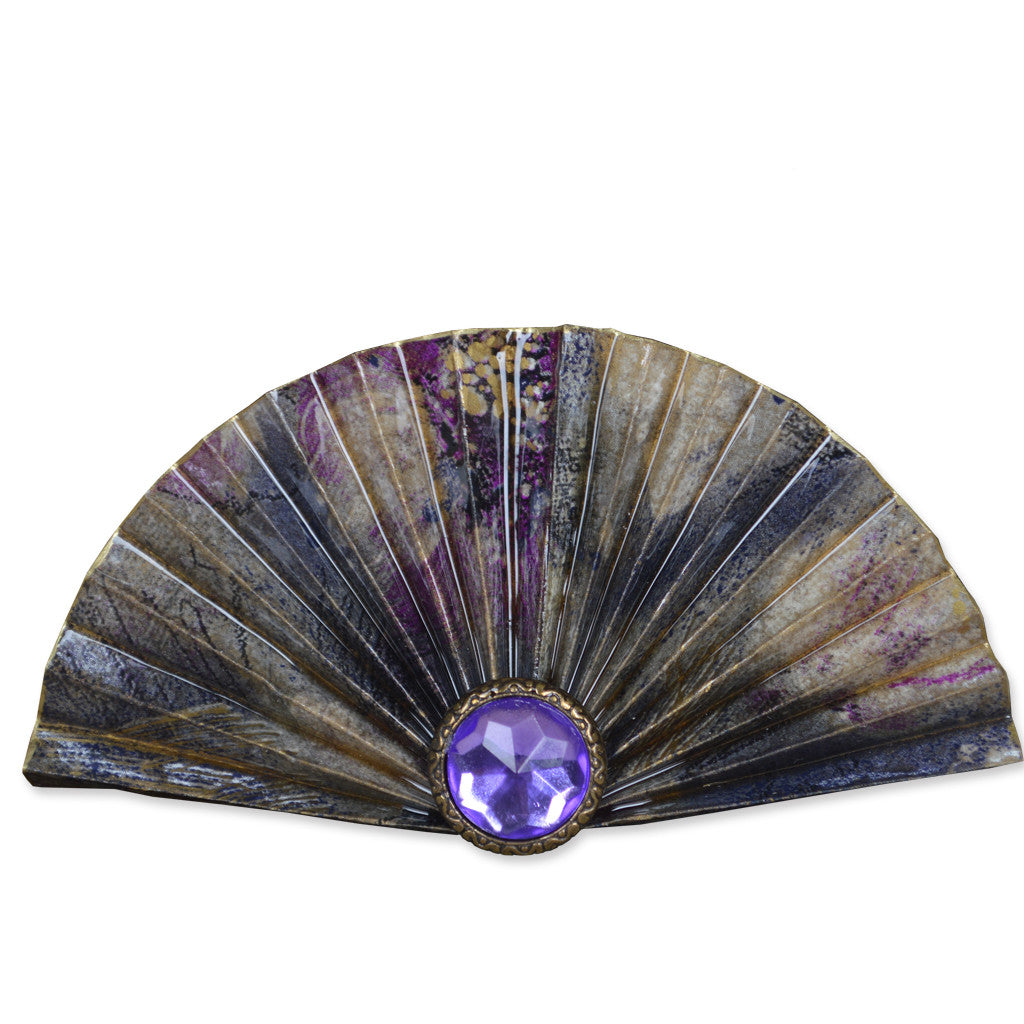 Purple/Gold Fan Brooch