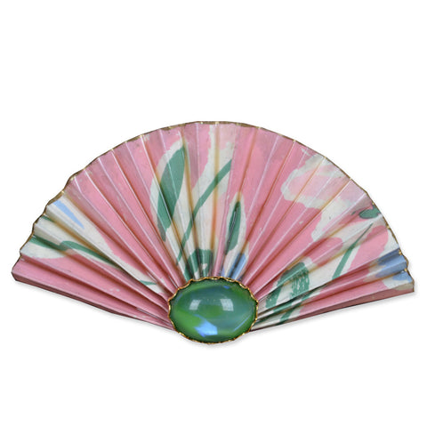 Pink/Green Fan Brooch