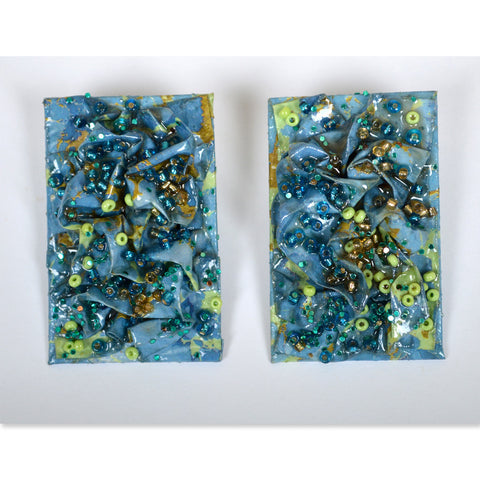 Blue Confetti Rectangular Earrings