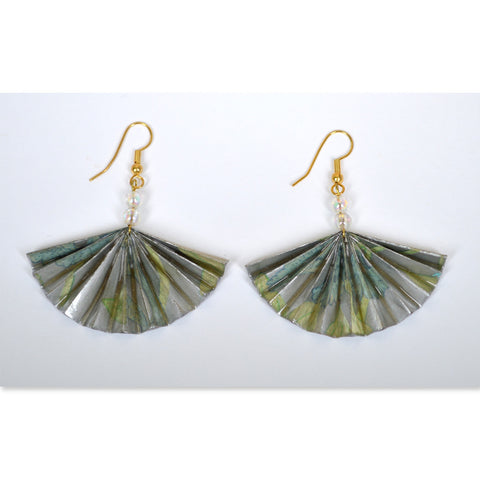 Green/Silver Fan Earrings