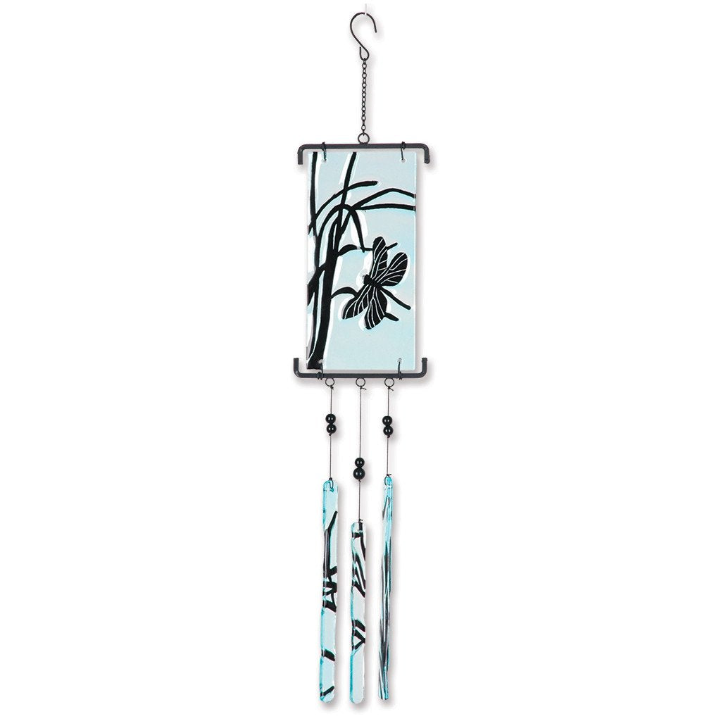 Silhouette Glass Wind Chime - Dragonfly