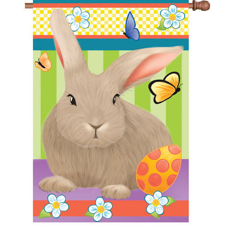 28 in. Easter House Flag - Hip Hop Bunny