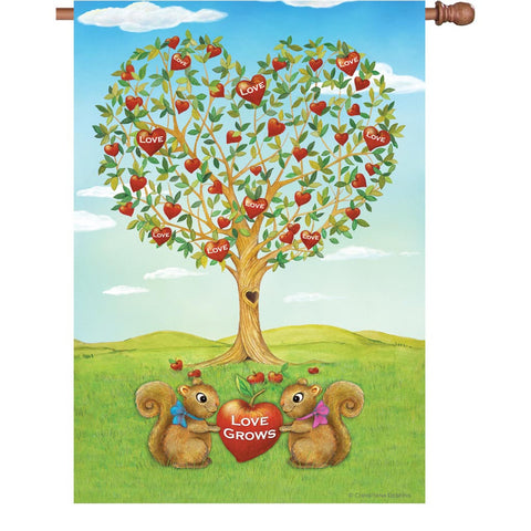 28 in. Valentine's Day House Flag - Love Grows