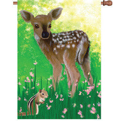 28 in. Baby Deer House Flag - Babes in the Woods