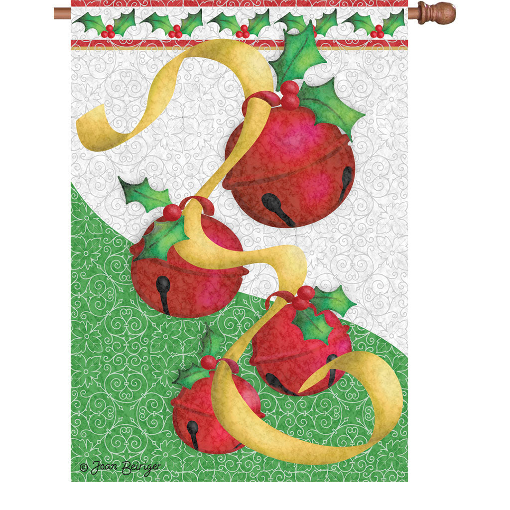 28 in. Christmas House Flag - Holiday Bells