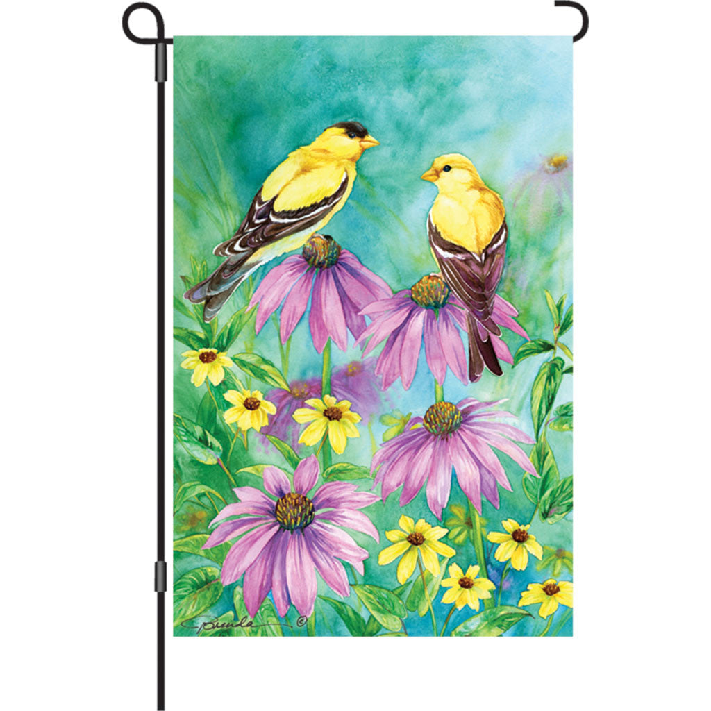 12 in. Bird Garden Flag - Summer Goldfinches