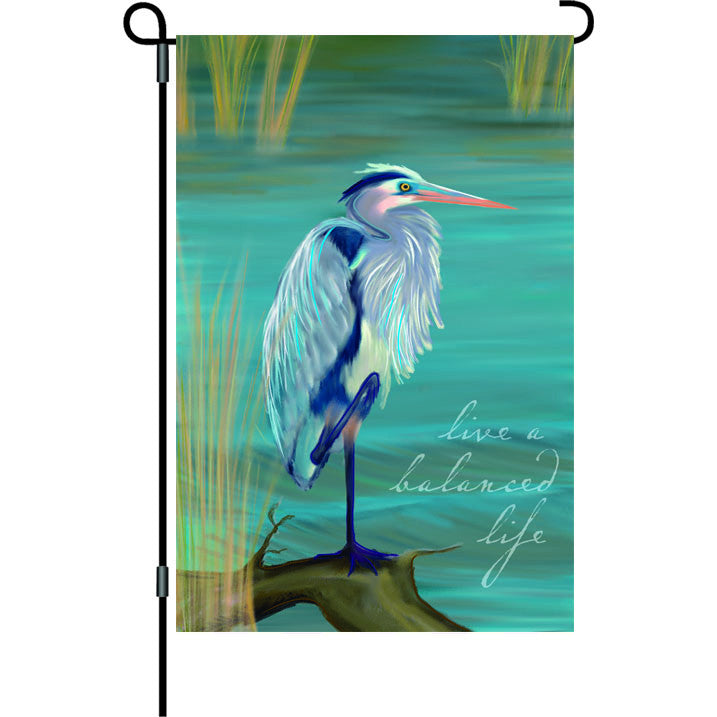 12 in. Blue Heron Garden Flag - A Balanced Life