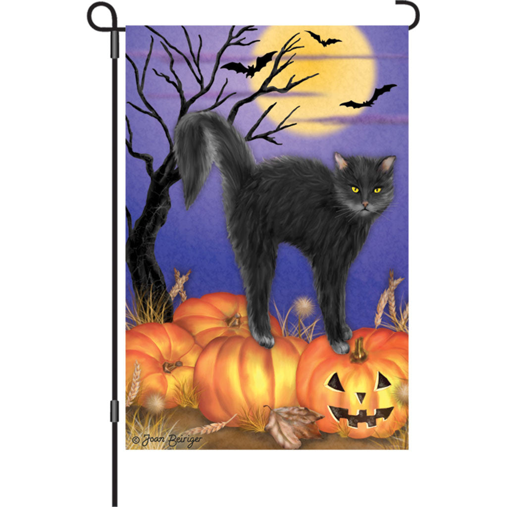 12 in. Halloween Garden Flag - Jack O'Lantern Pumpkin Kitty Cat