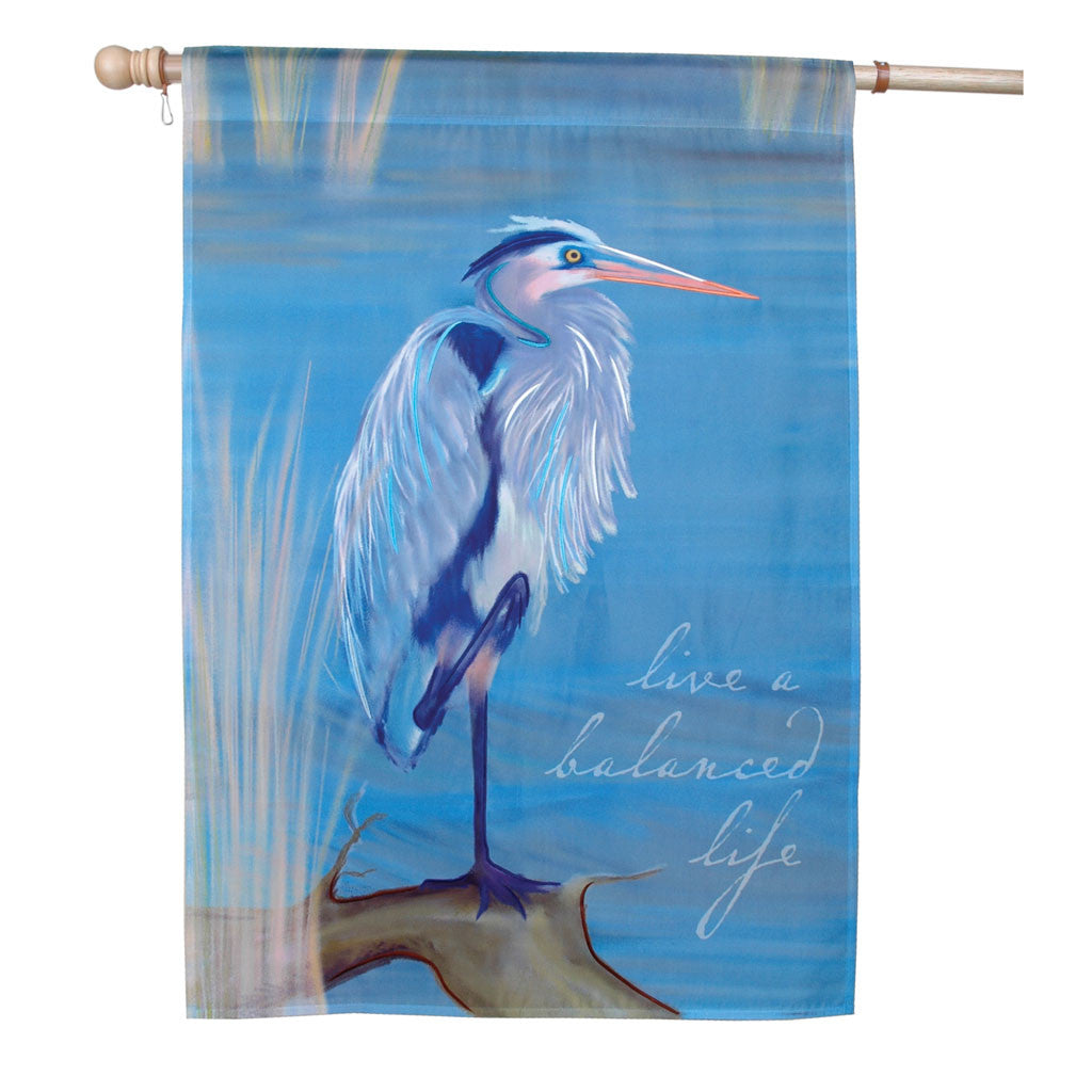 28 in. Blue Heron House Flag - A Balanced Life