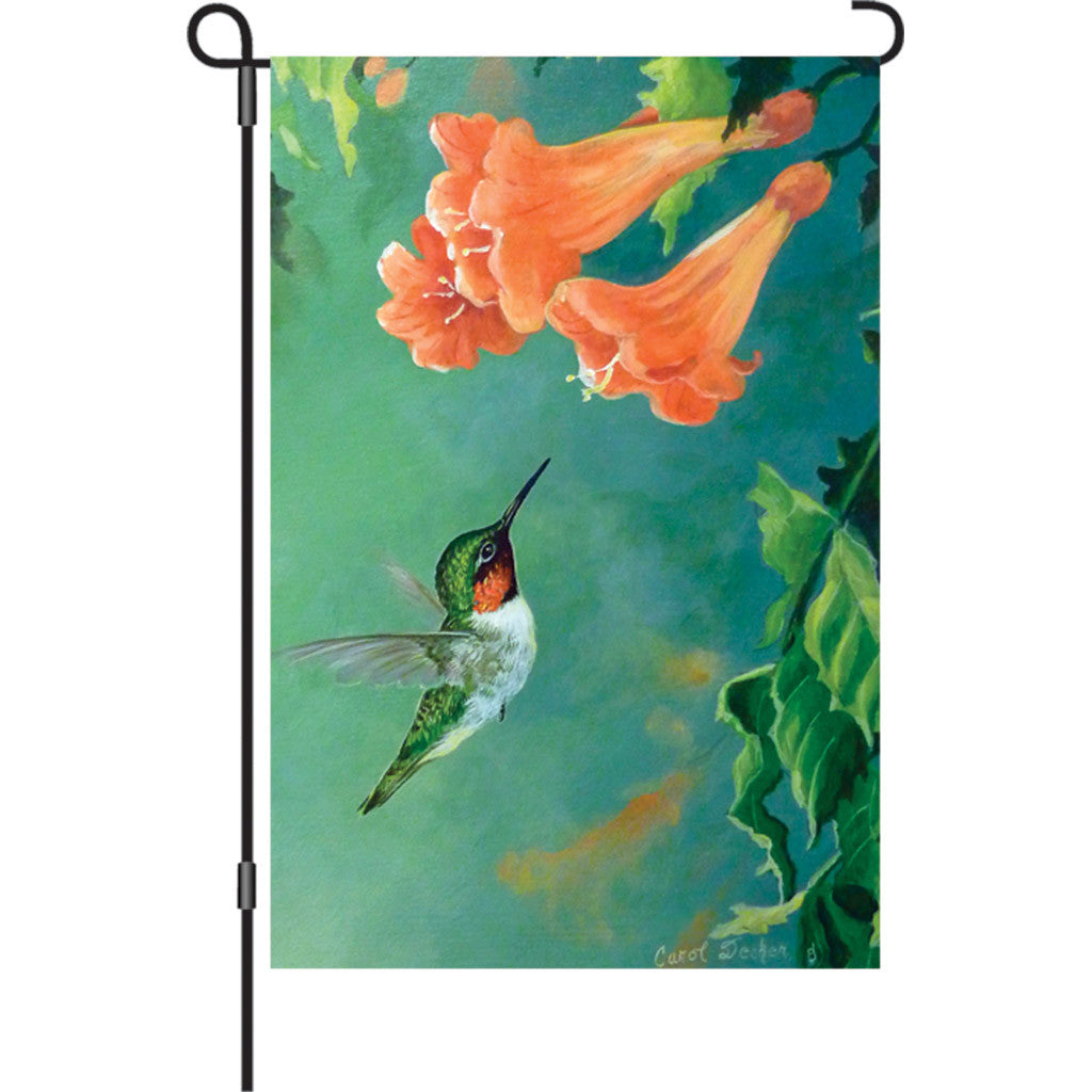 12 in. Springtime Bird Garden Flag - Hummingbird and Trumpet Vine