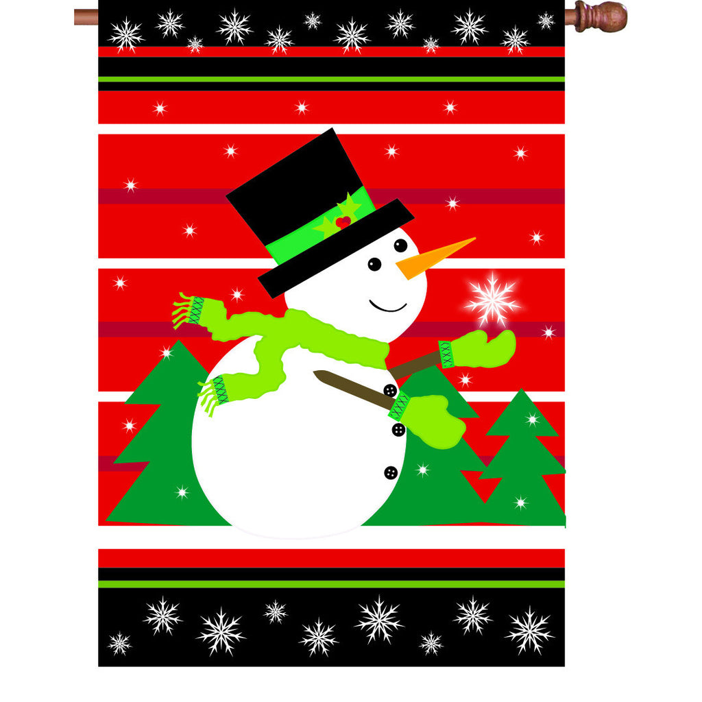 28 in. Christmas House Flag - Catch a Snowflake