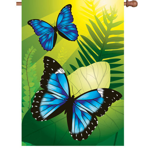 28 in. Butterfly House Flag - Blue Morpho Butterflies