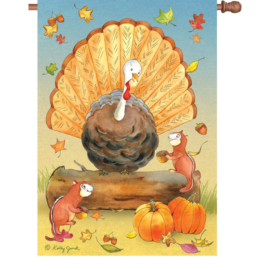 28 in. Thanksgiving House Flag - Turkey and Friends