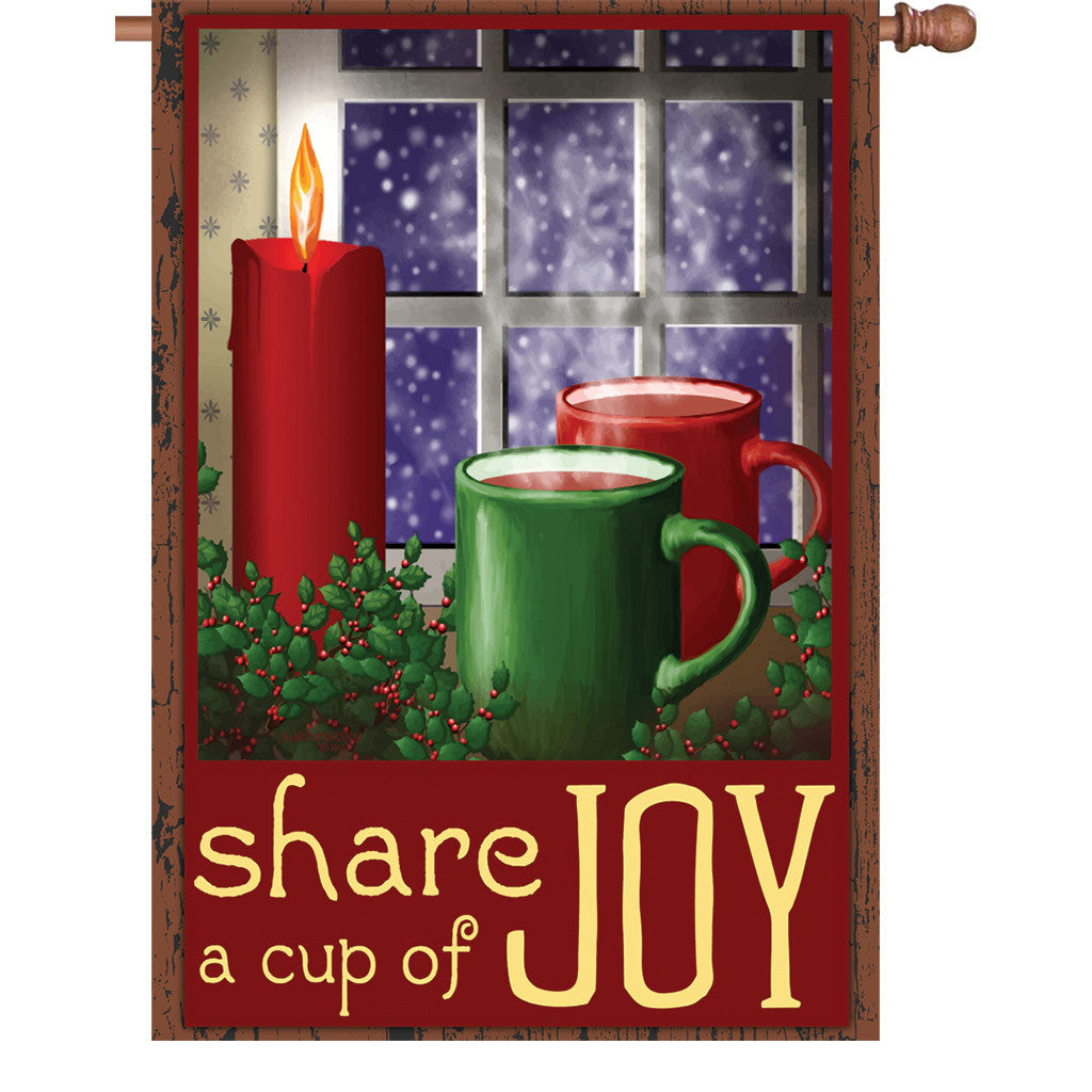 28 in. Winter Holiday House Flag - Cup of Joy