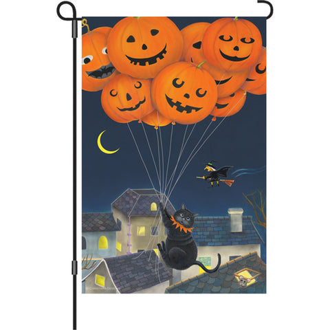 12 in. Halloween Garden Flag - Black Cat with Balloons