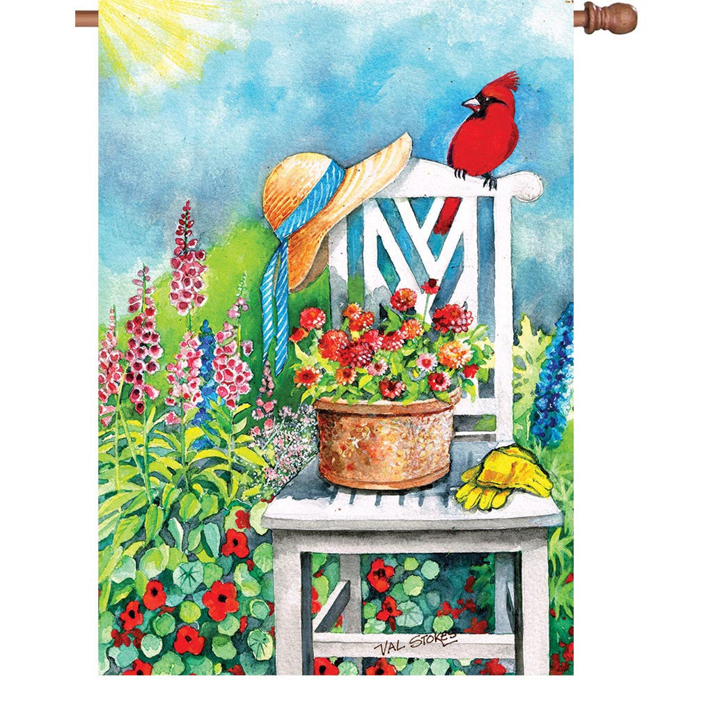 28 in. Summertime Floral House Flag - Gardener's Patch