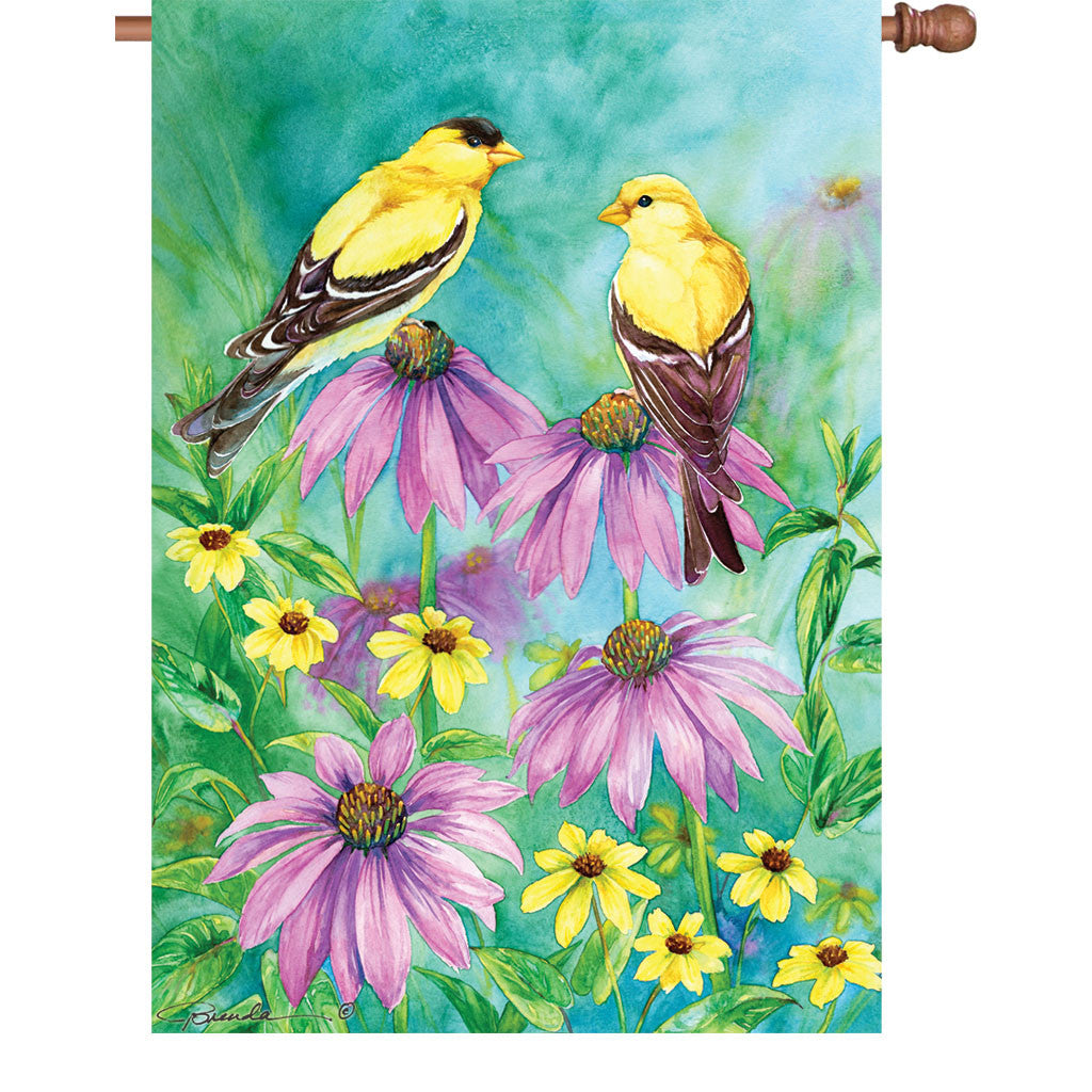 28 in. Summer Bird House Flag - Summer Goldfinch