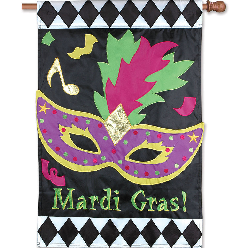 Double-Sided Mardi Gras Applique Flag - Mardi Gras (Fat Tuesday)