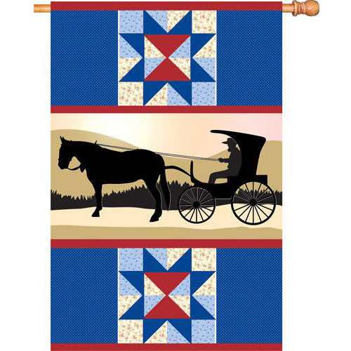 28 in. Country Farm House Flag - Amish Country
