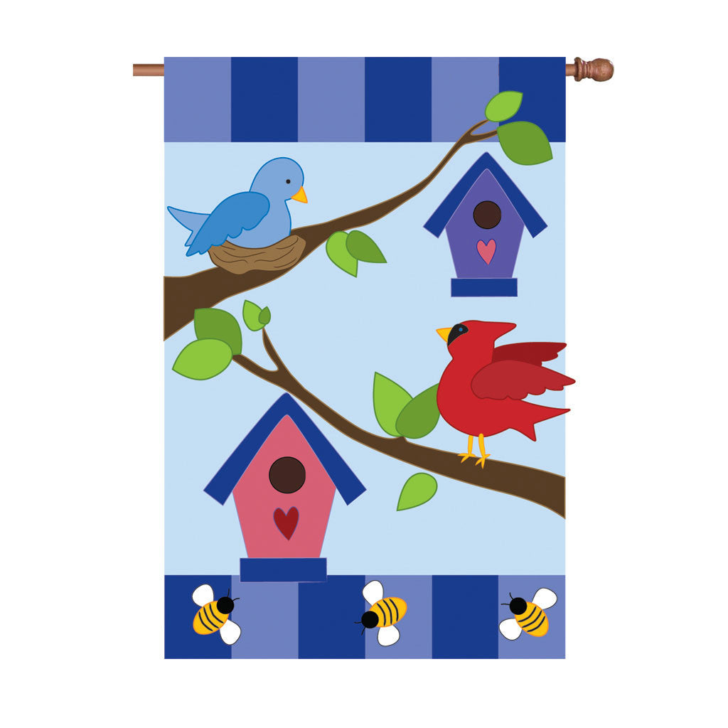 36 in. Birdhouses Applique Flag - Nice to Hang Out