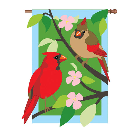36 in. Cardinals Applique Flag - Springtime Love