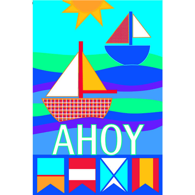 12 in. Patchwork Sailboat Garden Flag - Ahoy