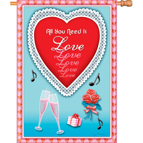 28 in. Valentine's Day House Flag - All You Need is Love