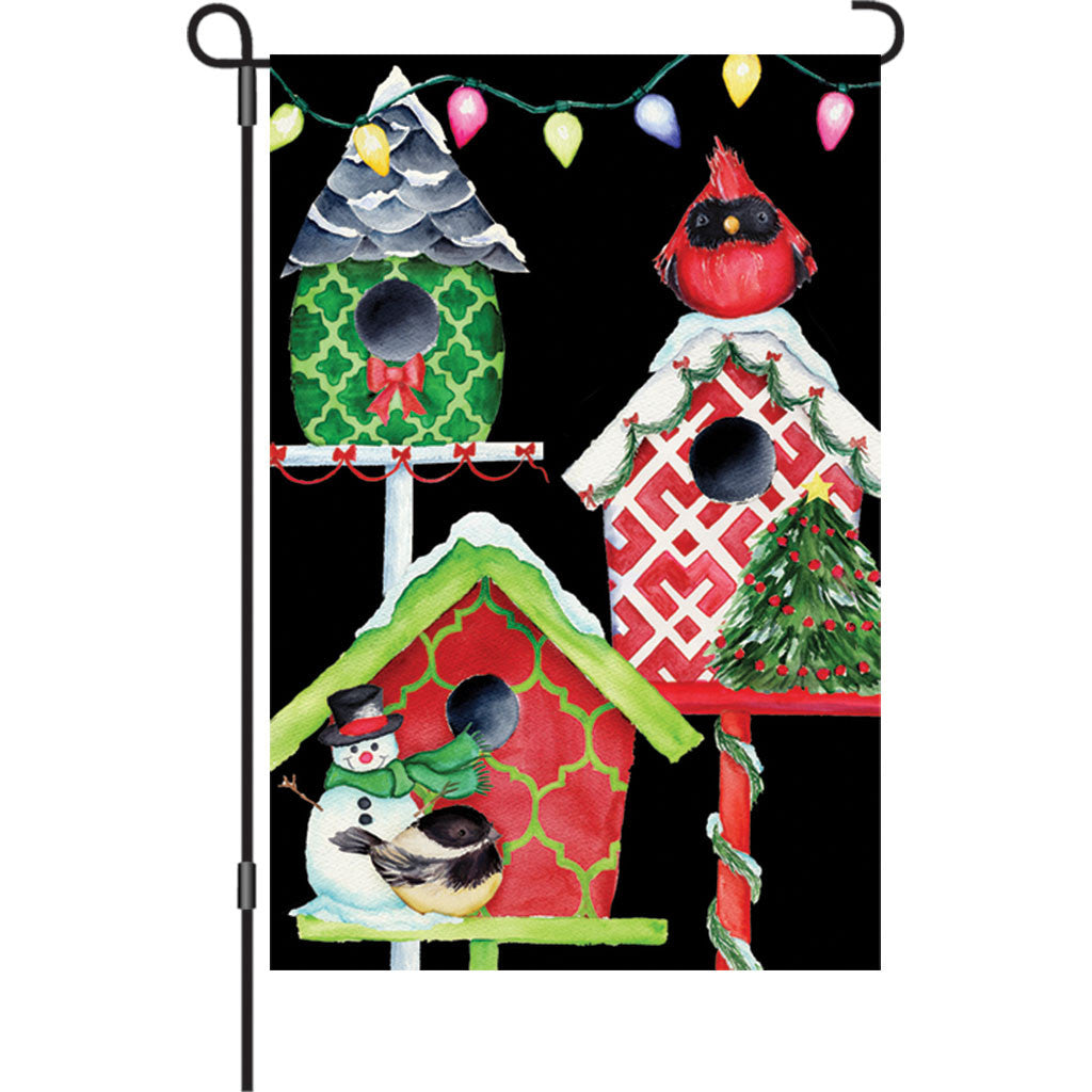 12 in. Christmas Garden Flag - Christmas Birdhouse