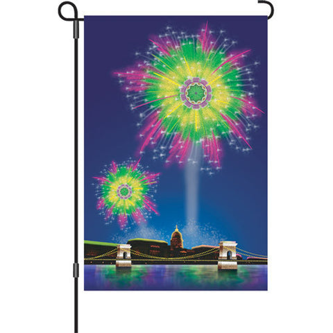 12 in. Fourth of July Garden Flag - Fireworks Fantasy