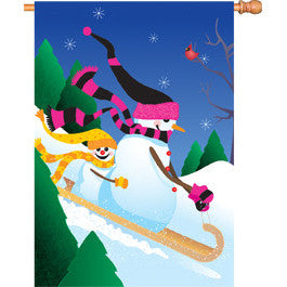 28 in. Christmas House Flag - Toboggan Ride