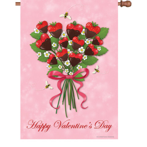 28 in. Floral House Flag - Strawberry Bouquet