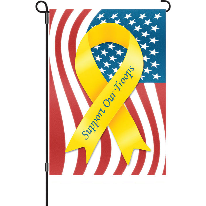 12 in. Memorial Day Patriotic Garden Flag - Support Our Troops