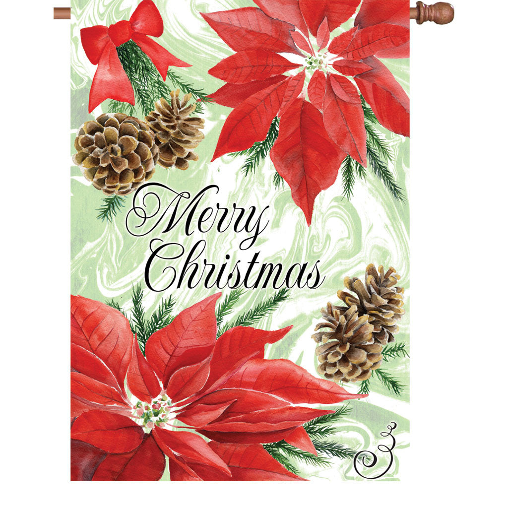 28 in. Christmas House Flag - Poinsettia And Pinecones