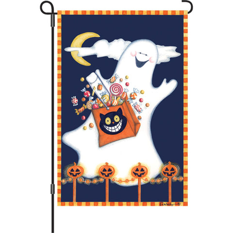 12 in. Halloween Garden Flag - Candy Ghost