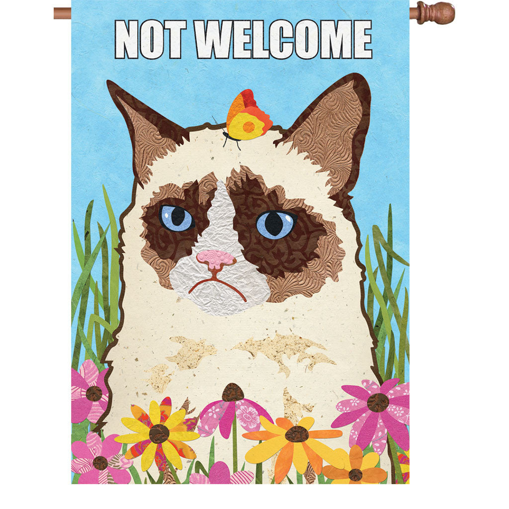 28 in. Funny Cat House Flag - Not Welcome