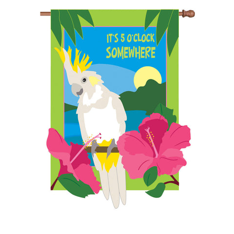 36 in. It's 5 O'Clock Somewhere Applique Flag - Somewhere In Paradise