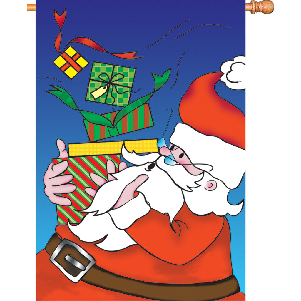 28 in. Christmas House Flag - Santa's Gifts
