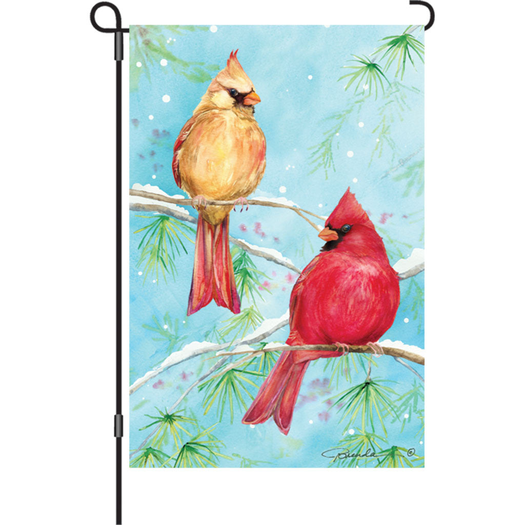 12 in. Snow Bird Garden Flag - Winter Cardinal