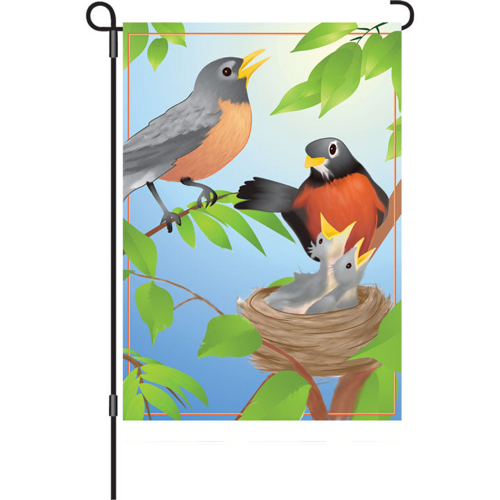12 in. Bird's Nest Garden Flag - Robin's Family