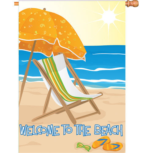 28 in. Coastal Beach House Flag - Welcome Beach