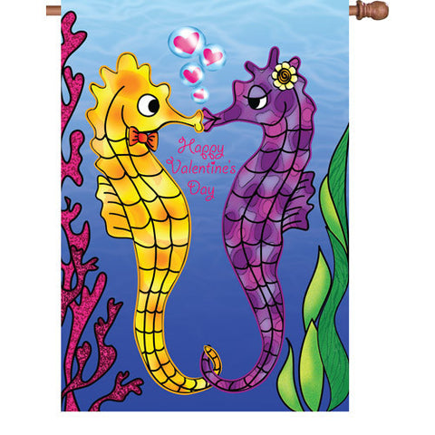 28 in. Valentine's Day Seahorses House Flag - Be My Valentine