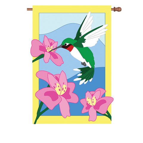 36 in. Hummingbird Applique Flag - It's Lunchtime Somewhere